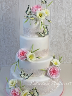 Wedding cake with butterflies